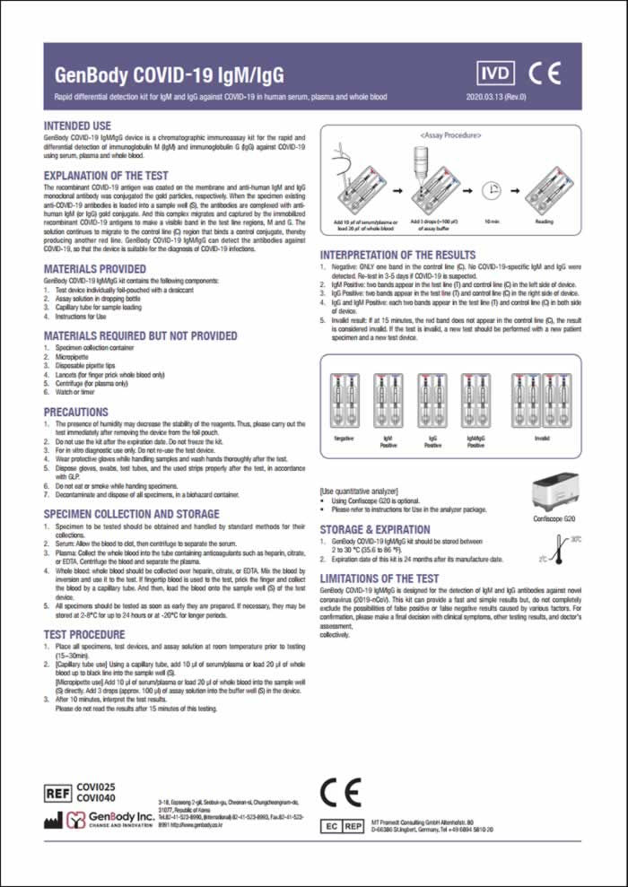 Click the image to view a larger PDF version of the COVID-19 Test Kit information sheet with full instruvtions for use